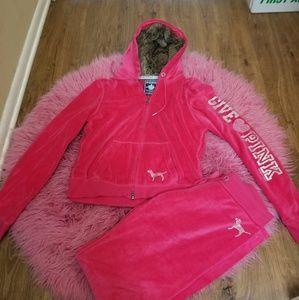 Victorias Secret Pink Velour fur hoodie & pants M